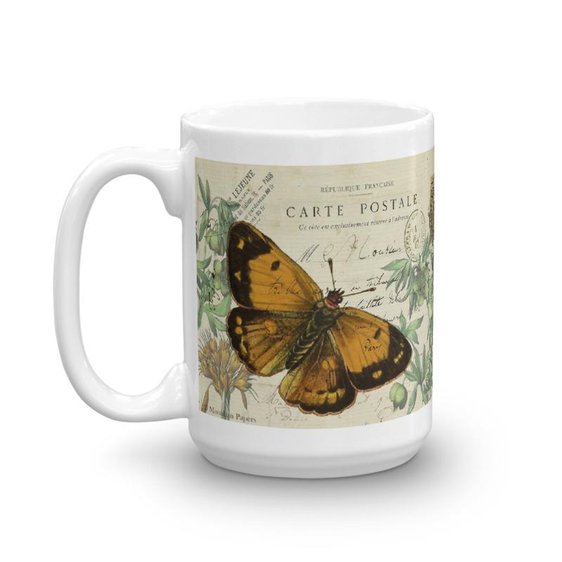 Butterfly Vintage Postcard Mug